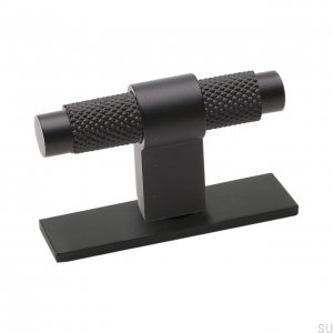 Furniture handle T-bar Pitch with plate Black