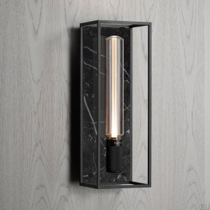 Caged Wall 1.0 Large - Satin Black Marble /Buster Bulb Tube