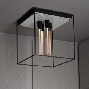 Caged Ceiling 4.0 - Polished White Marble /Buster Bulb Tube