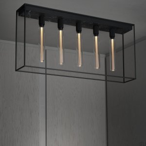 Caged Ceiling 5.0 - Satin Black Marble /Buster Bulb Tube