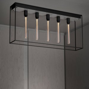 Caged Ceiling 5.0 - Polished White Marble /Buster Bulb Tube