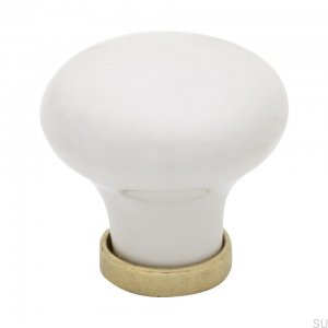 Furniture knob 24136 White Brass Ceramic